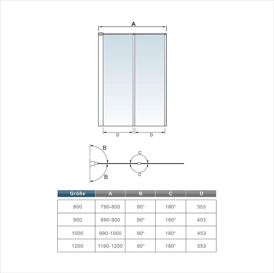 Mamparas de Ba/ñera Biombo Plegable Cristal 4mm Gris Mate 2 cristale plegable 90x140cm