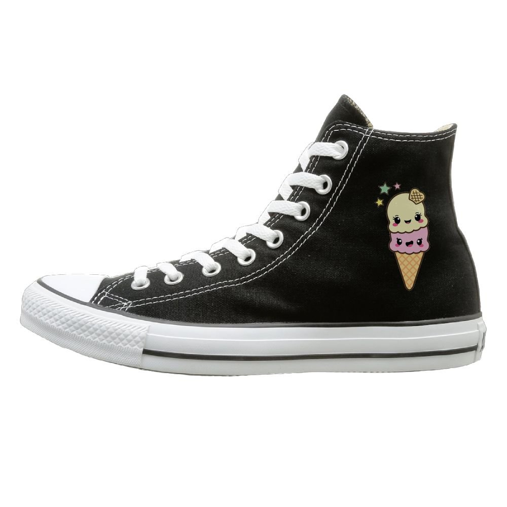 Shenigon Cute Ice Cream Canvas Shoes High Top Casual Black Sneakers Unisex Style
