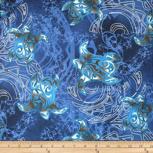 Trans-Pacific Textiles Hawaiian Tribal Swirl Honu Navy, Fabric by the Yard ()