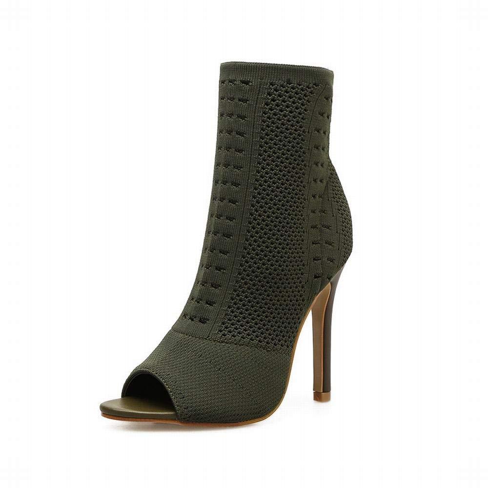 GSAYDNEE Frauen Stricken Schuhe sexy Ausschnitt Fisch Mund elastische Stiefel (Farbe   Grün Größe   40)