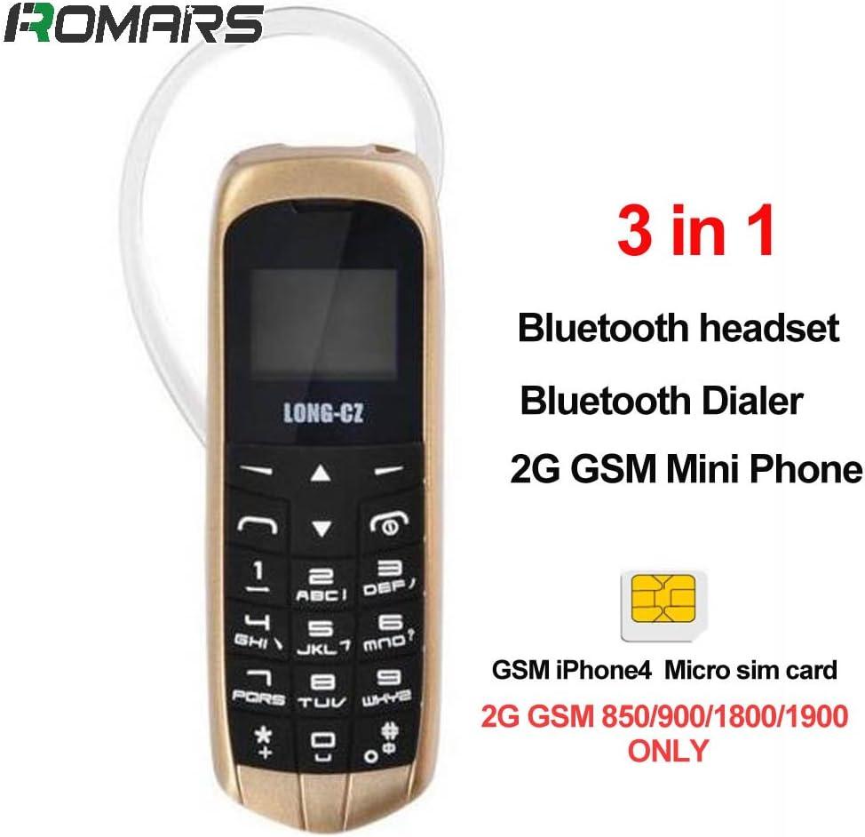 LONG CZ J8 3 in 1 il più piccolo telefono sbloccato Bluetooth Headset 3 in 1 + Bluetooth + 2G dialer Mini telefono di plastica sbloccato18g (oro nero): Amazon.es: Electrónica