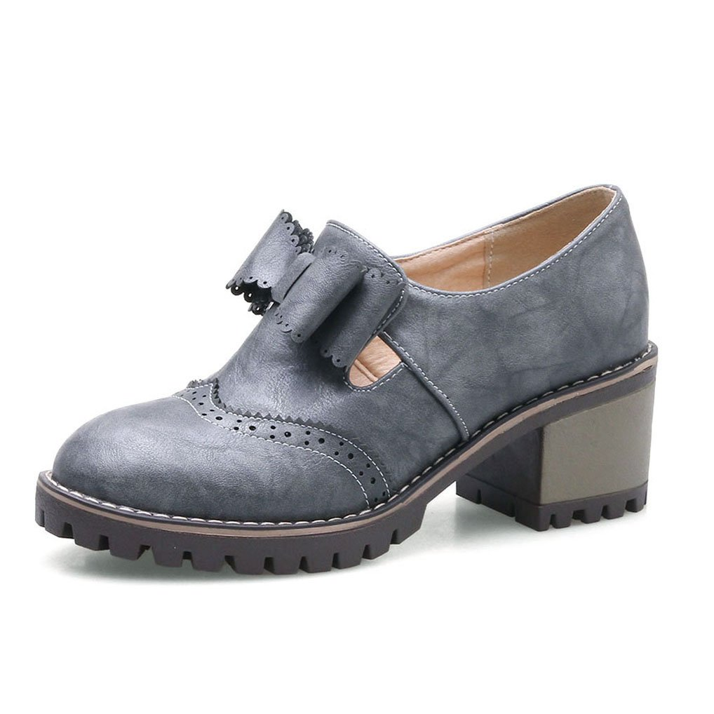 Oaleen nœud Richelieu rétro femme nœud aspect cuir talon chaussures moyen derbies talon moyen bloc Gris 7fac15f - jessicalock.space