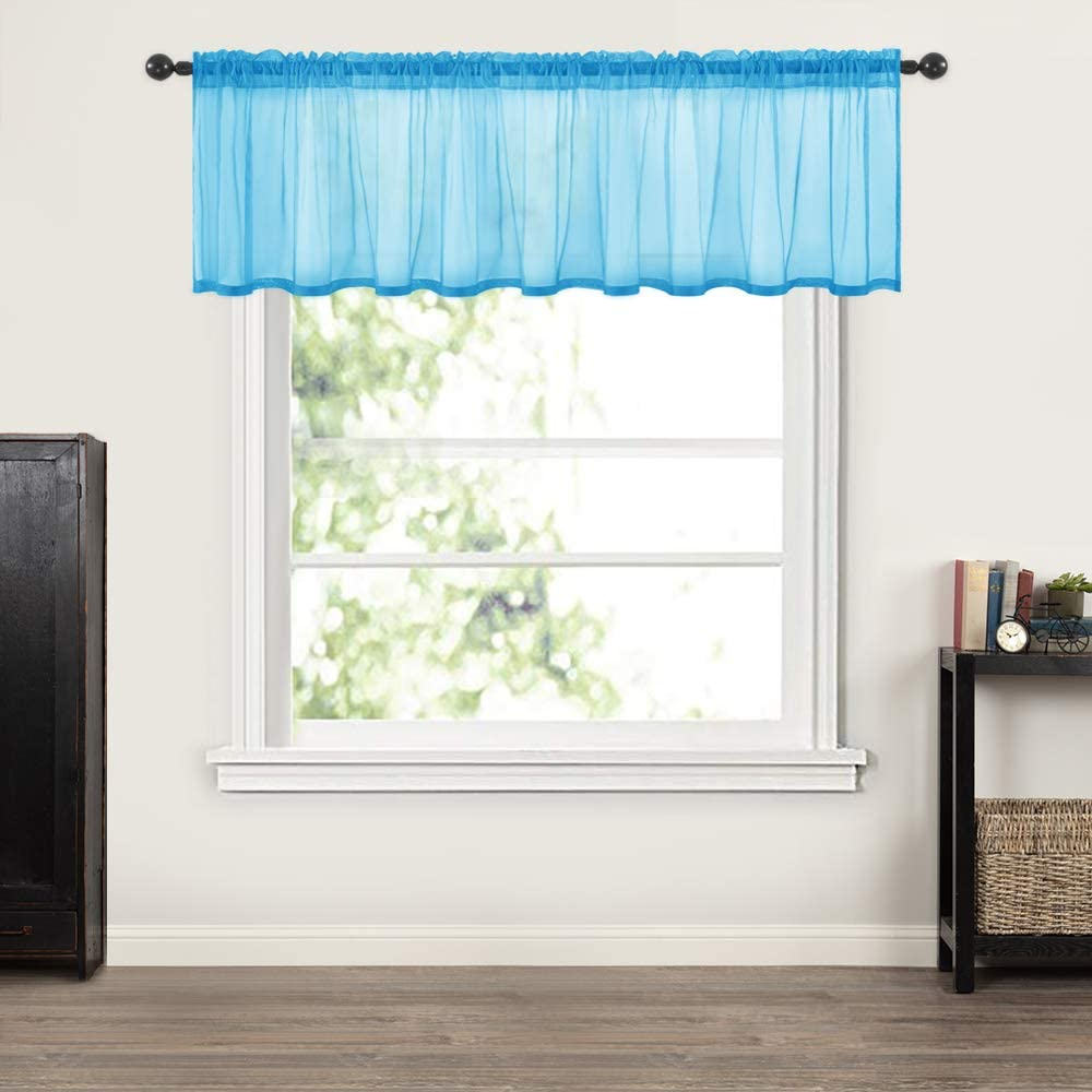 MIULEE Window Valance Half Window Sheer Curtains Rod Pocket Semitranslucent Voile Drapes Extra Wide for Small Window Kitchen Cafe One Panel 60 x 18 Inch Sky Blue