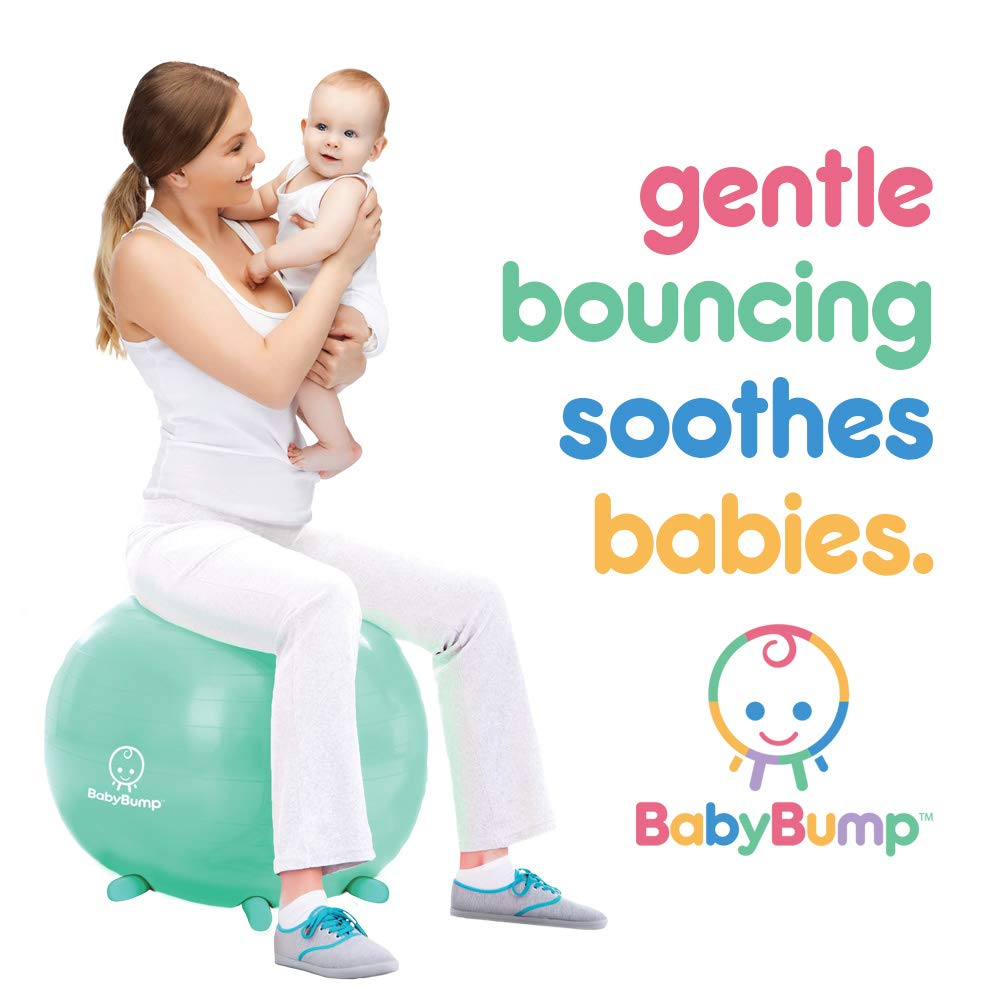 Baby Bump Birth Ball with Base Legs - Stability/Balance/Stand - Anti-burst - Pump - Exercise during Pregnancy - Prenatal Fitness - Induces Labor - Soothes Babies - Yoga Moms - Cute Practical Best Baby Shower Gift - 65 cm - Lavender Purple