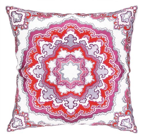Amazon Nanette Lepore Villa Linen Embroidered Pillow, Paisley Medallion, Red