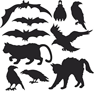 10 Pcs Assorted Halloween Silhouettes Scary Cat, Crow & Bats Cutouts Trick or Treat Party, Haunted House Decoration, Wall Decal Window Decor, Cardboard Halloween Party Supply