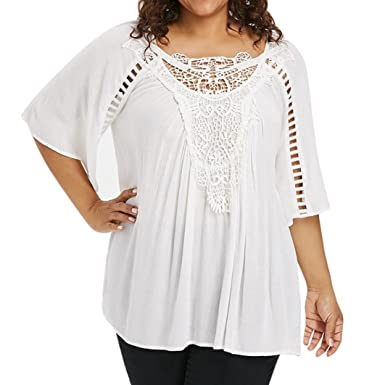 Gillberry Plus Size Blouses Solid 3 4 Sleeve Blouse Pullover Tops