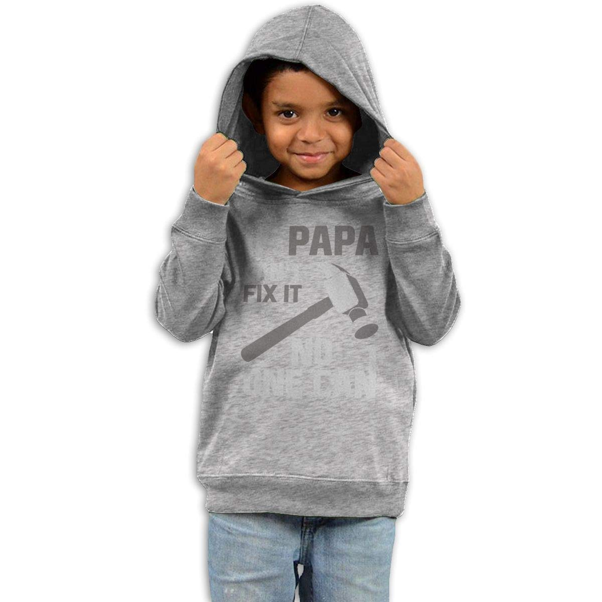 Childrens Hooded Sweater If PAPA Cant Fix It No One Can for Grandpa Boy Sweater Black