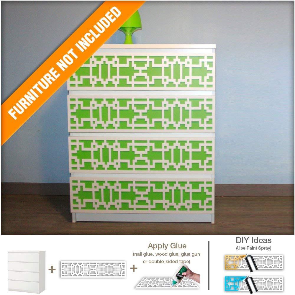 HomeArtDecor - Suitable for IKEA Malm - 31.49 x 7.87 inches - Interlaced Modern Furniture Decoration - Handmade Fretwork Overlay