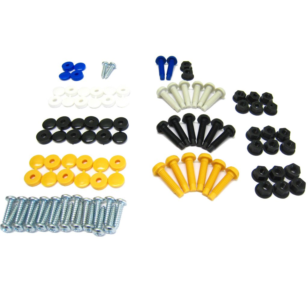 All Trade Direct 80 Pcs Number Plate Caps Screws Bolts Nuts Fitting Fix
