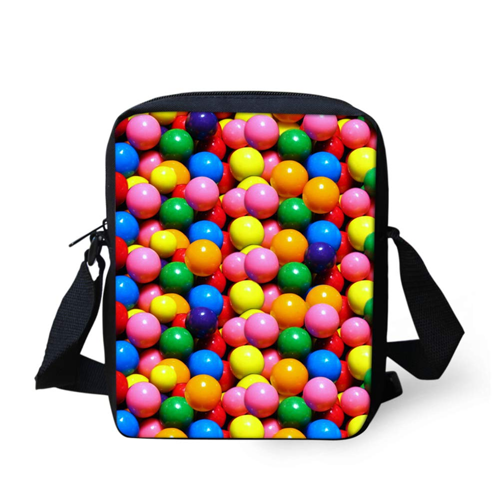 UNICEU Outdoor Travel Hiking Messenger Bags Small Lightweight Portable Colorful Candy Pattern Kids Cross-Body Bag