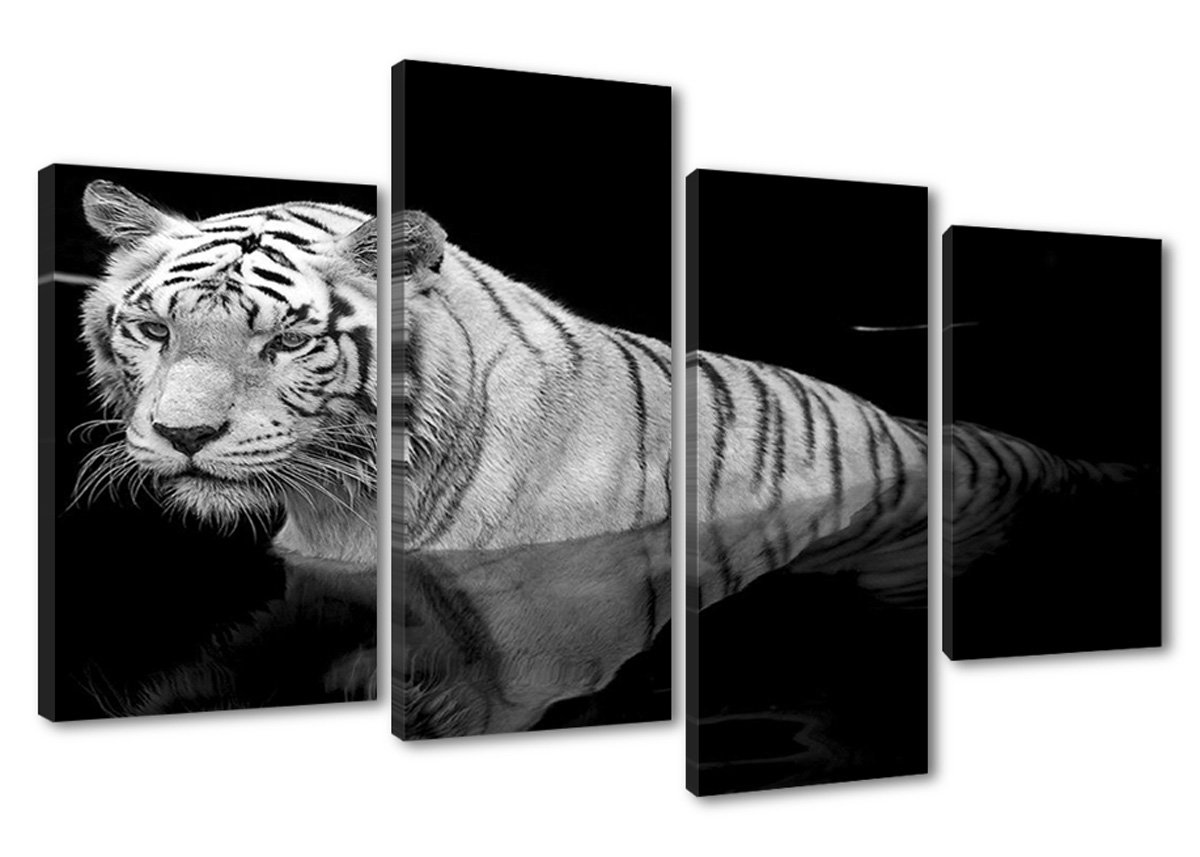 Amazon.de: Bilder auf Leinwand 130x80 cm Bild 6176 Tiger fertig ...