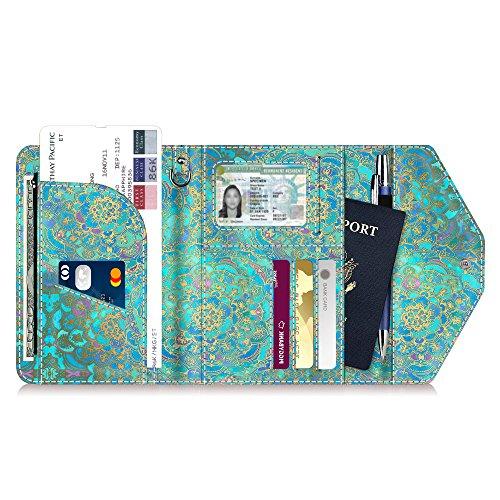 Multi-Purpose Passport Holder Wallet, Fintie Trifold RFID Blocking Travel Document Organizer Case, Shades of Blue