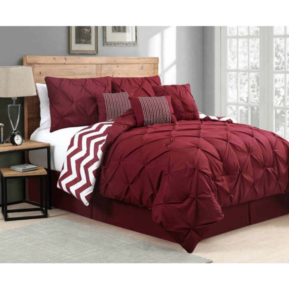 Comforter Set with Pintucks on Sale - 7 Pieces, Burgundy
