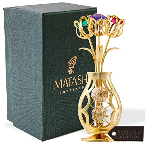 Matashi 24k Gold Plated Flowers Bouquet and Vase w/Colorful Crystals | 24k Gold-Plated Table Top Decorations | Metal Floral Arrangement | Elegant Home or Office ()