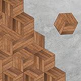 VANCORE Wood Floor Tile Stickers Wall Sticker Hexagon Backsplash Waterproof Peel and Stick Decor Decals 4.53x7.87 10 Pcs/set