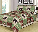 Twin Size Log Cabin Bear Quilt Set Country Rustic Lodge Cottage Bedspread Coverlet