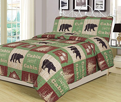 Full/Queen Size Log Cabin Bear Quilt Set Country Rustic Lodge Cottage Bedspread Coverlet