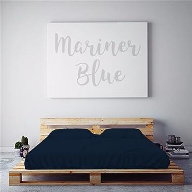 PeachSkinSheets Night Sweats: The Original Moisture Wicking, 1500tc Soft Queen Sheet Set Mariner Blue (Navy)