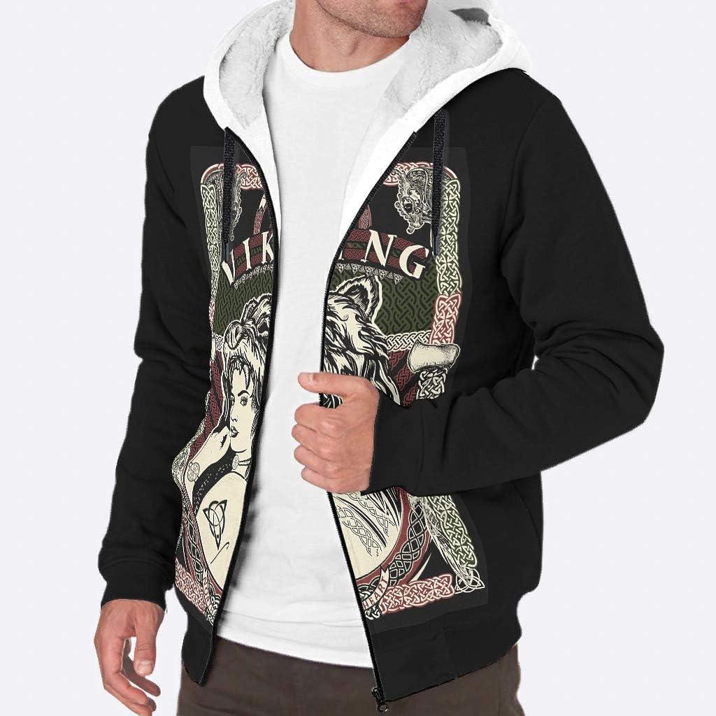 WEIFLY Mens Long-Sleeve Zipper Viking Style Fleece Sherpa Sweatshirt Jacket Autumn Winter Warm Hoodie Jackets Pullover S-3XL White s