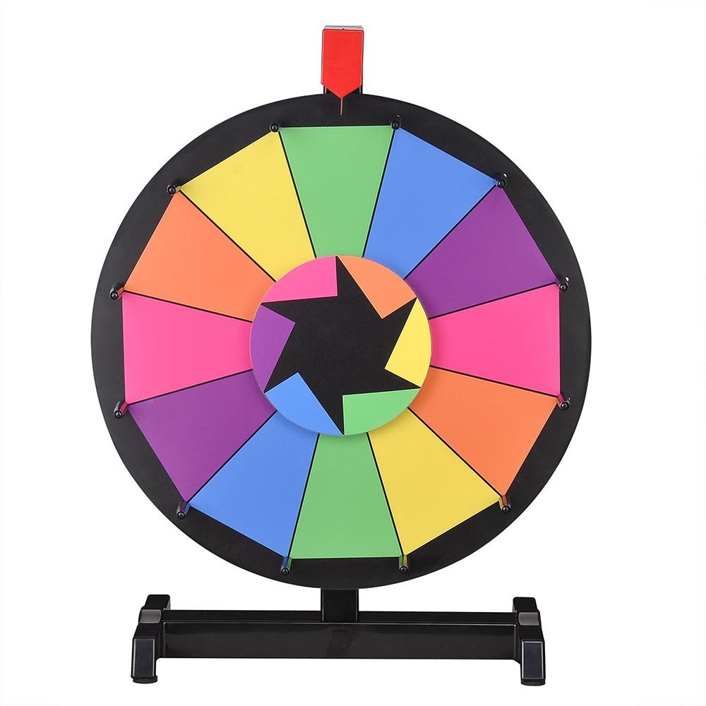 WinSpin 15'' Tabletop Editable Color Prize Wheel 12 Slot Spinning Game with Dry Erase Tradeshow Carnival