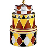 """Alessi MW31S3 Circus Set of three all-purpose boxes in tinplate with decoration Ø cm 11,2 – h cm  8,3 / Ø 4 ½"""" – h 3 ¼"""" Ø cm 14,4 – h cm 9 h / Ø 5 ¾"""" – h 3 ½"""" Ø cm 17,6 – h cm 11 / Ø 7"""" – h 4 ¼"""""""