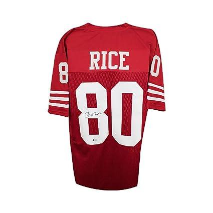 e52576f292e Jerry Rice Autographed San Francisco 49ers Custom Red Football Jersey - BAS  COA