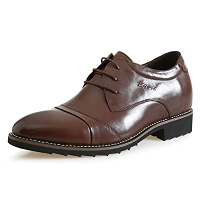 2.56 Inches Taller-Genuine Leather Invisible Elevator Derby Shoes Dress Business Wedding Shoes