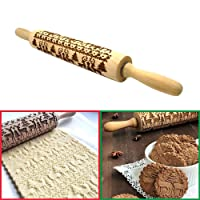 KOBWA Natale Matterello in Legno - 35cm - Decorativo Antiaderente Piccolo Inciso Embossing Rolling Pin Xmas Deers Trees Patterns per Bambini DIY Biscotti Pizza Pasta di Zucchero