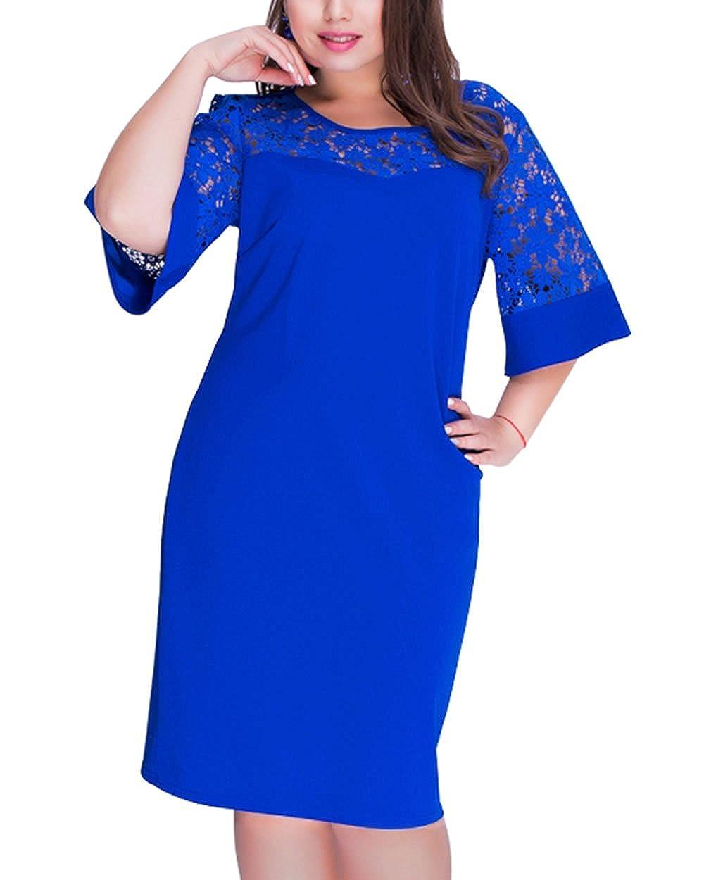 b892566e46d65 1.US Plus size:14W 16W 18W 20W. 2.Feature:Plus Size Lace Dress,Big size  Dress,half Sleeve Dress,Casual Dress,Elegant Dress,Office  Dress,O-Neck,solid Dress
