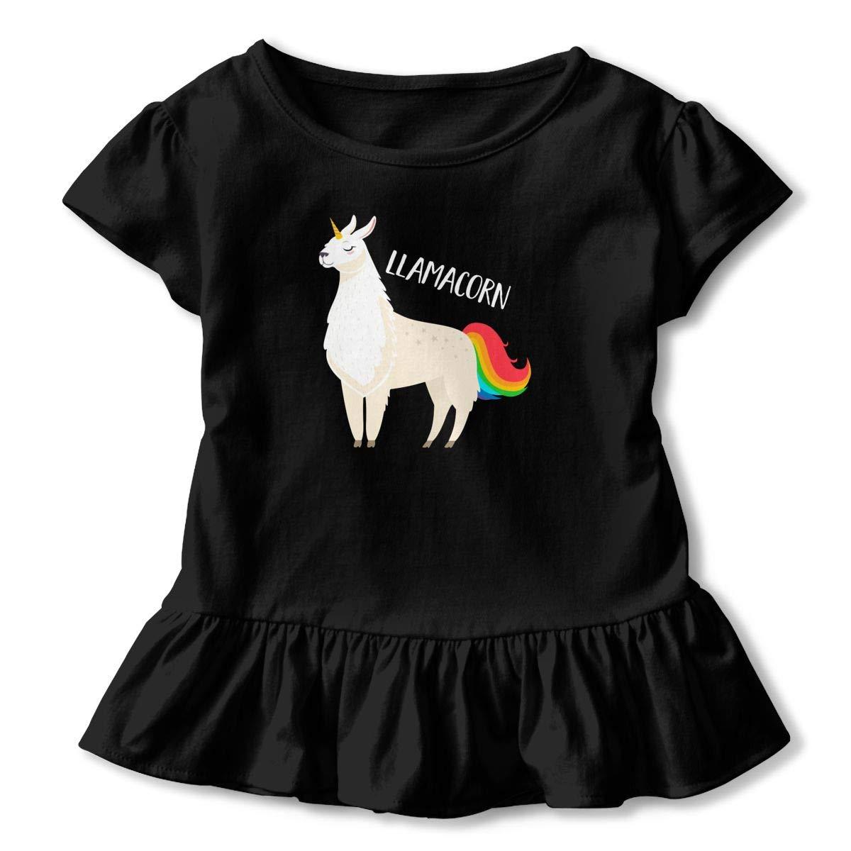 Llama Unicorn Toddler Baby Girls Cotton Ruffle Short Sleeve Top Soft T-Shirt 2-6T
