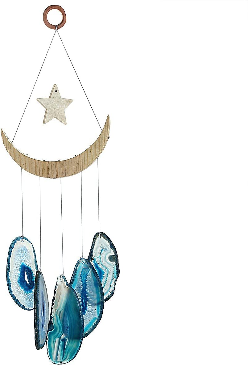 mookaitedecor Blue Agate Slices Wind Chimes for Home Garden Decoration 15-19 Inches