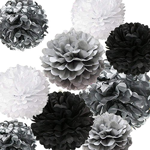 - Fonder Mols 12pcs Tissue Paper Pom Poms Flowers Decorations Silver Black Gray White (Mixed Sizes 8inch/10inch/12inch/14inch) for Chic Baby Shower, Bachelorette Backdrop, Nursery Room Decor