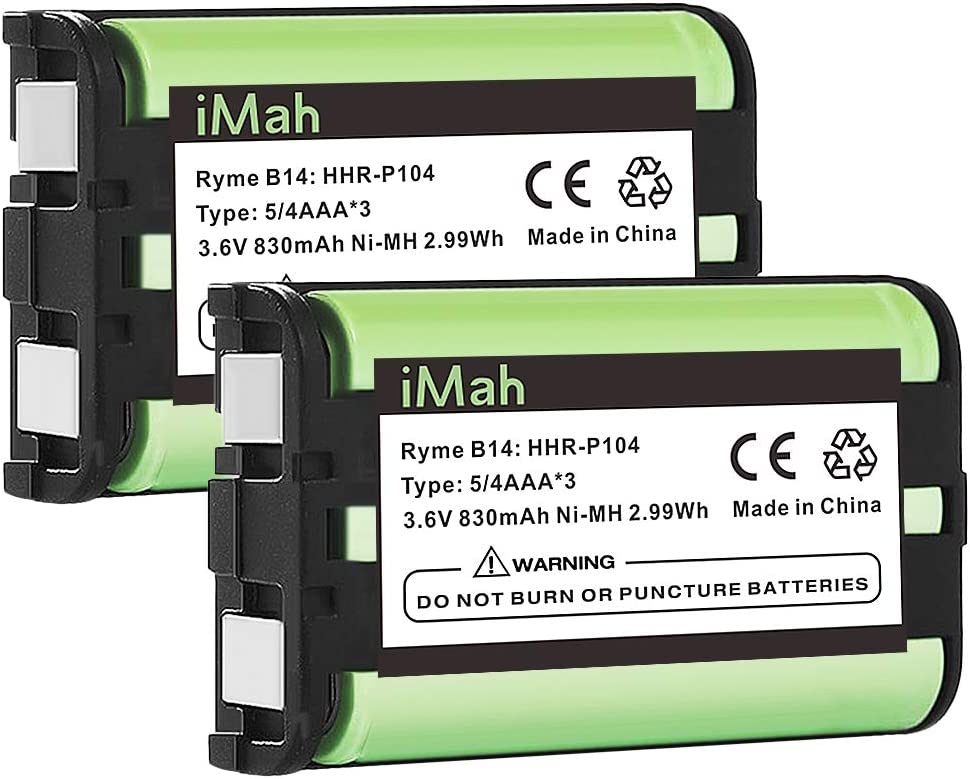 iMah HHR-P104 3.6V 830mAh Cordless Phone Battery Compatible with Panasonic HHR-P104A KX-TG2314 KX-TG2322 KX-TG2343 KX-TG2344 KX-TG2346 KX-TG2356W KX-TG2357B KX-TG2366 KX-TG2382B KX-TGA560, 2-Pack