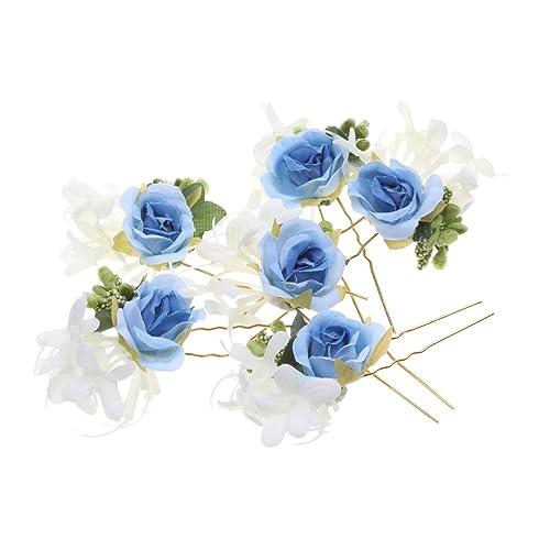 3 6 Haarschmuck Blumen Rosen Haarnadeln Weiss Braut Brautschmuck
