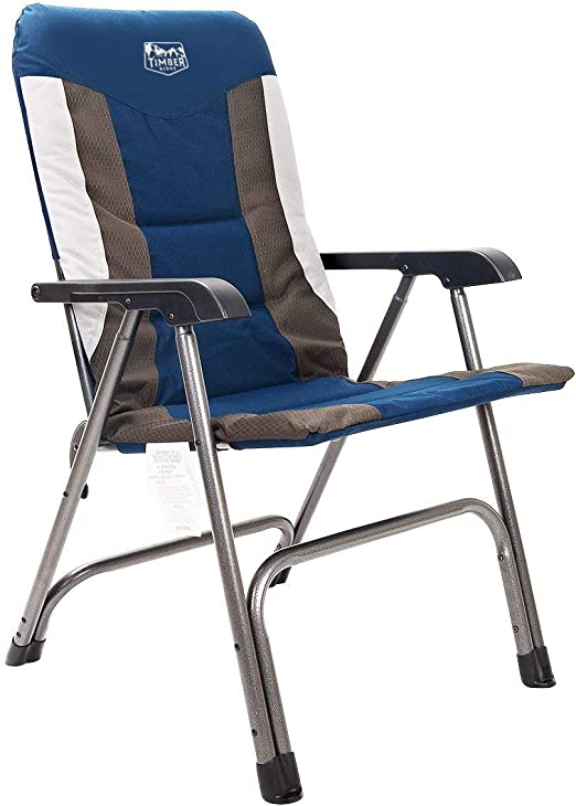 Folding Camping Chair with Storage Pocket Aluminium Frame Carry Bag Green