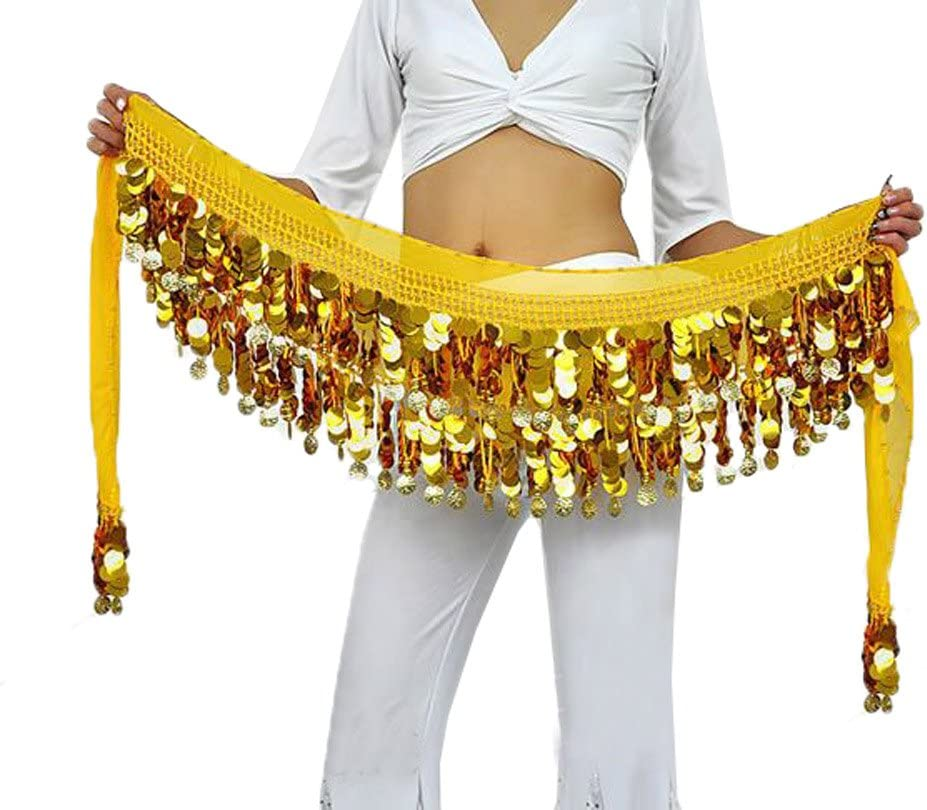 BellyQueen One Size Women 160cm Belly Dance Costume Double Layers Sequins Belt 88 Alloy Coins Chiffon Skirts
