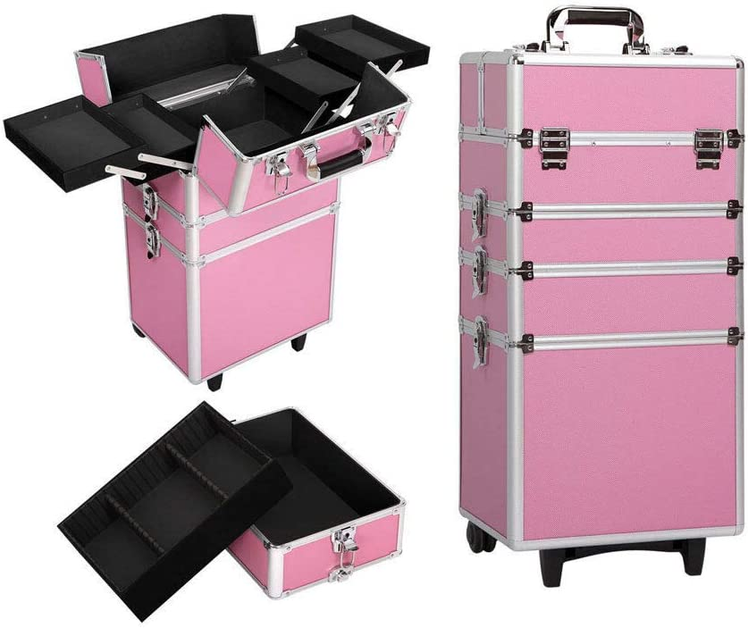4 in 1 Aluminum Brush Cosmetic Box Organizer with Rolling Makeup Trolley Train Case #YLC11
