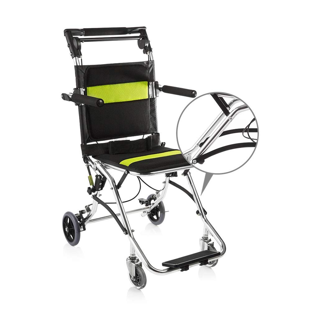 YANGLIYU Wheels Folding Self Propelled Wheelchair,Portable Wheelchair Aluminum Alloy Lightweight Folding Wheelchair,Black