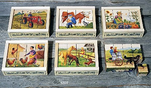 (Atelier Fischer Wooden Block Cube Puzzle in Wooden Case - Farm Scenes (12 Pieces))