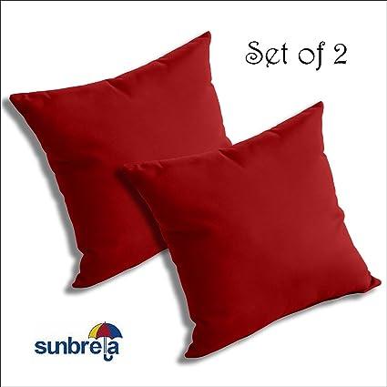 13dff94f13e Amazon.com   SET OF 2 Sunbrella Outdoor Indoor THROW PILLOWS by Comfort  Classics Inc. (JOCKEY RED)   Garden   Outdoor