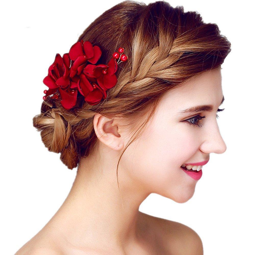 Meiysh Handmade Flower Side Hair Comb Bridal Headpiece Wedding Accessories-Wine red by MEiySH