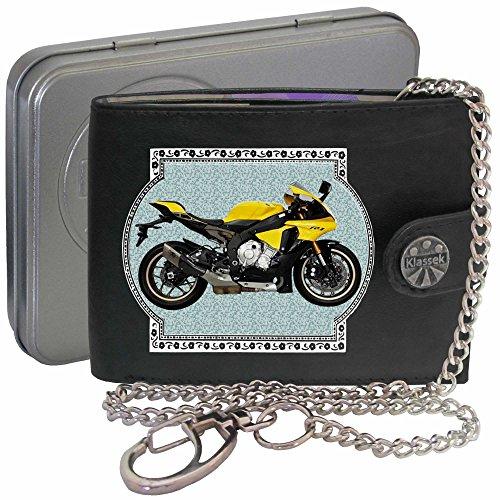 Yamaha YZF R1 Gelb Bild auf KLASSEK Marken RFID Herren Geldbörse Portemonnaie Echtes Leder mit Kette Motorrad Bike Zubehör Geschenk mit Metall Box NICHT OFFIZIELLE YAMAHA Produkte