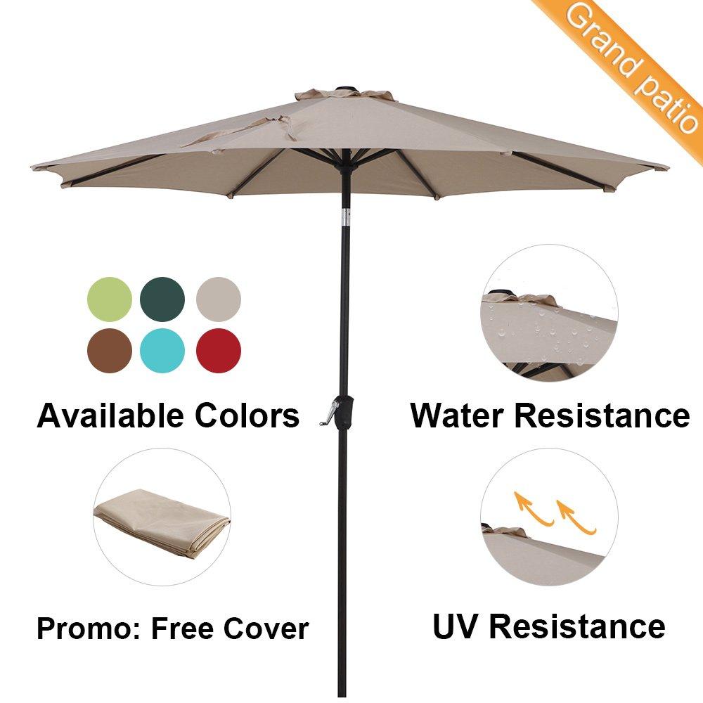 Grand Patio 9 FT Enhanced Aluminum Patio Umbrella, UV Protected Outdoor Umbrella with Auto Crank and Push Button Tilt, Beige