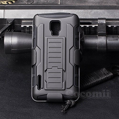 LG Optimus F7 Case, Cocomii Robot Armor NEW [Heavy Duty] Premium Belt Clip Holster Kickstand Shockproof Hard Bumper Shell [Military Defender] Full Body Dual Layer Rugged Cover US780 (Black)
