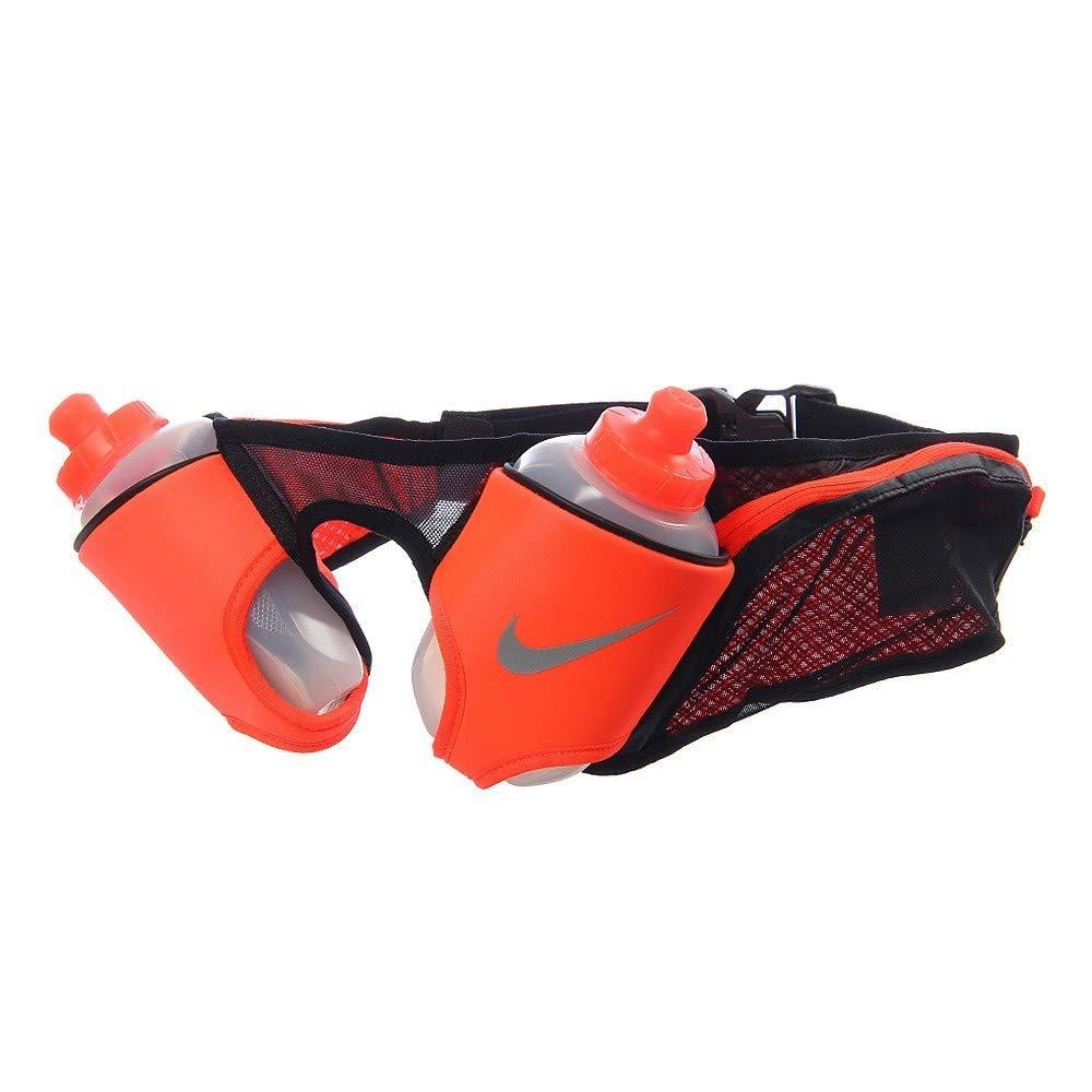 NikeユニセックスRunning DoubleフラスコHydration調節可能ベルトブラックTotal Crimsonシルバー20オンス   B01J2VW9H4