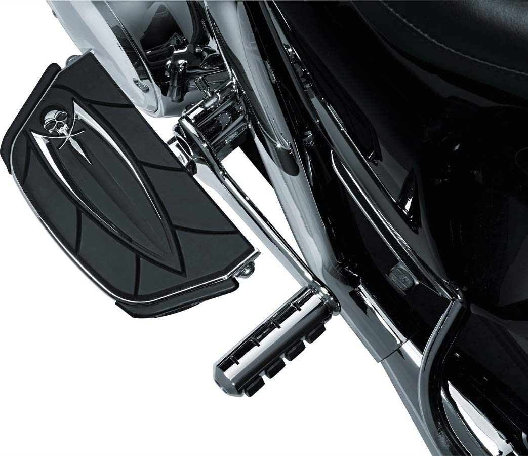 Kuryakyn 4572 Motorcycle Foot Control Component: Zombie Skull Passenger Board Floorboard Covers for 1986-2019 Harley-Davidson Motorcycles, Chrome, 1 Pair