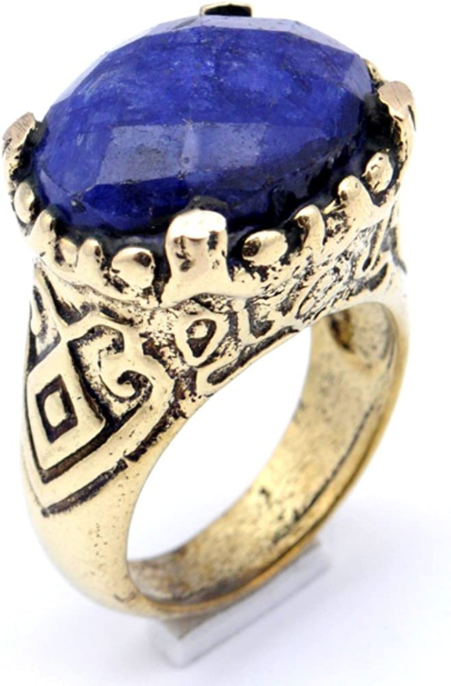 Handmade Jewelry Blue Dyed Sapphire Brass Metal Ring Size 8 US Turkish Style Exotic