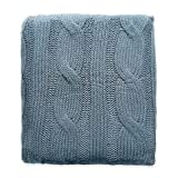 Cable Knit Throw (Spa Blue)
