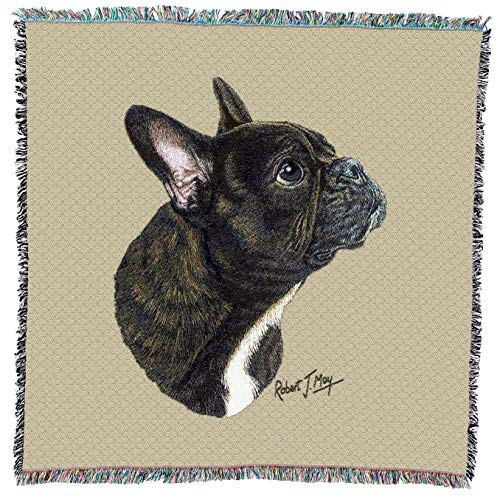 Pure Country Weavers - French Bulldog Woven Throw Blanket with Fringe Cotton. USA Size 54x54